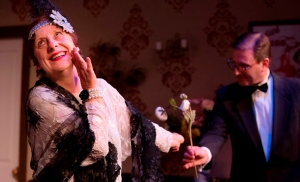 Alice Livingstone (Judith) and Adrian Adam (Richard) in Noel Coward's Hay Fever at New Theatre. Photograph (c) Bob Seary