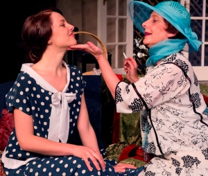 Jorja Brain (Sorel) and Alice Livingstone (Judith) in Noel Coward's Hay Fever at New Theatre. Photograph (c) Bob Seary