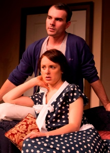 Jorja Brain (Sorel) and David Halgren (Simon) in Noel Coward's Hay Fever at New Theatre. Photograph (c) Bob Seary
