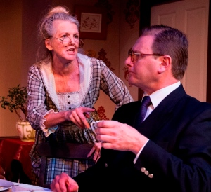 Sharron Olivier (Clara) and Adrian Adam (Richard) in Noel Coward's Hay Fever at New Theatre. Photograph (c) Bob Seary