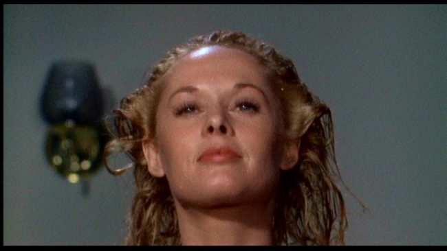 The hair colour change scene and the first time we see Tippi Hedren's face.