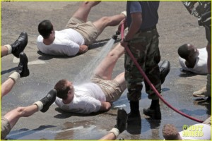 AMERICAN FLASHER! Bradley Cooper rocks some very short shorts while filming a Navy Seals training scene for 'American Sniper' in Los Angeles