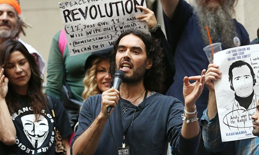 Russell Brand joins Occupy Wall Street activists in New York City on 14 October 2014. Photograph: XP