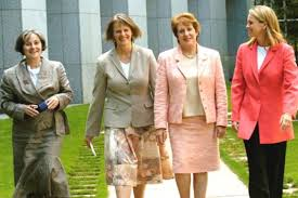 The initiating senators of the RU486 bill after it passed through the House of Representatives: (from left) Claire Moore (Labor), Lyn Allison (Australian Democrats), Judith Troeth (Liberal) and Fiona Nash (Nationals). AAP Image/Alan Porritt